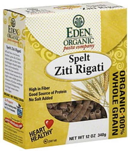 Eden 100% Organic Spelt Ziti Rigati 12 Oz Pasta - 6 pkg