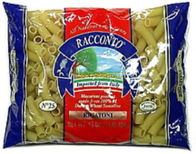 Racconto Rigatoni 16 Oz Pasta - 12 pkg
