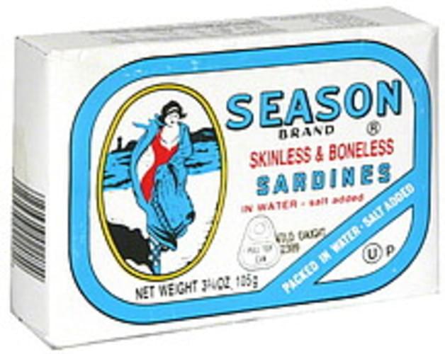 Season Skinless & Boneless  3.75 Oz Sardines - 12 pkg