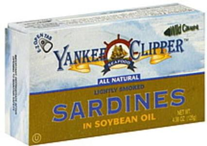 Yankee Clipper Sardines Lightly Smoked In Soybean Oil 4.38 Oz