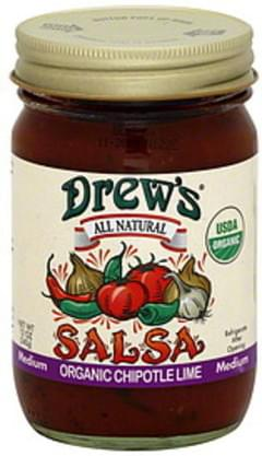 Drew's Salsa Chipotle Lime Medium Organic 12 Oz