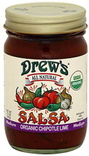 Drew's Chipotle Lime Medium Organic 12 Oz Salsa - 12 pkg