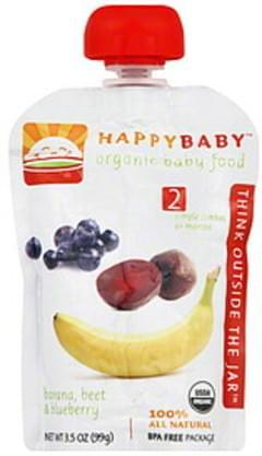 Happy Baby Organic Baby Food Stage 2 Banana, Beet & Blueberry 3.5 Oz
