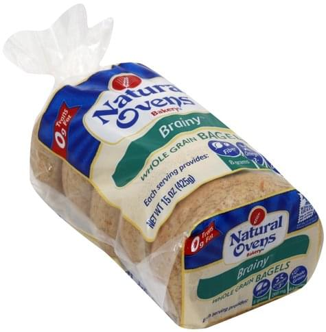 Natural Ovens Whole Grain, Brainy Bagels - 5 ea
