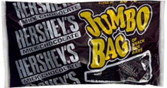 Hersheys Milk Chocolate Snack Size Bars, Jumbo Bag