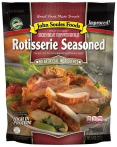 John Soules Foods Chicken Breast Strips with Rib Meat, Rotisserie Seasoned