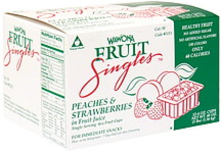 Wawona Peaches & Strawberries in Fruit Juice Fruit Singles - 12 ea