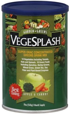 Garden Greens VegeSplash, Apple & Carrot Drink Mix - 19 oz