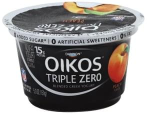 Oikos Yogurt Greek, Nonfat, Blended, Peach Flavor