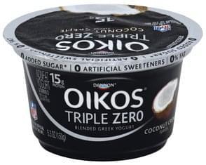 Oikos Yogurt Greek, Nonfat, Blended, Coconut Creme Flavor