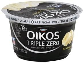 Oikos Yogurt Greek, Nonfat, Blended, Banana Cream Flavor