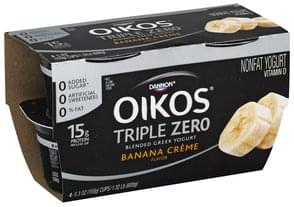 Oikos Yogurt Nonfat, Greek, Blended, Banana Creme Flavor