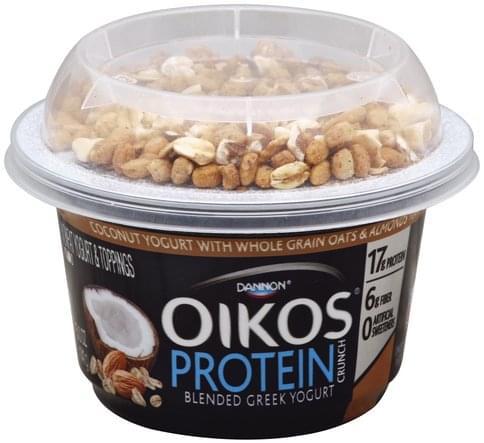 Oikos Greek, Nonfat, Coconut with Whole Grain Oats & Almonds Flavor Yogurt & Toppings - 5 oz