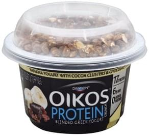 Oikos Yogurt & Toppings Greek, Nonfat, Banana with Cocoa Clusters & Chocolate Flavor