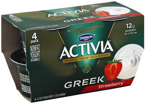 Activia Greek, Nonfat, Strawberry, 4 Pack Yogurt - 4 ea