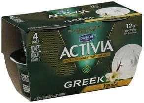 Activia Yogurt Greek, Nonfat, Vanilla, 4 Pack