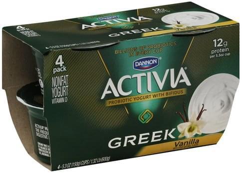 Activia Greek, Nonfat, Vanilla, 4 Pack Yogurt - 4 ea
