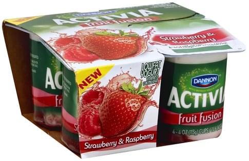 Activia Lowfat, Strawberry & Raspberry