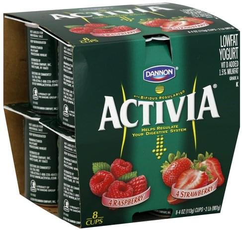 Activia Lowfat, Raspberry, Strawberry