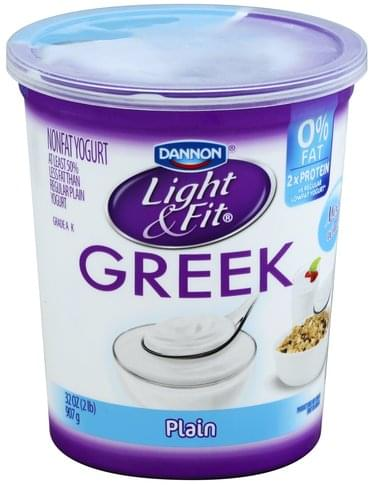 Light & Fit Greek, Nonfat, Plain Yogurt - 32 oz, Nutrition