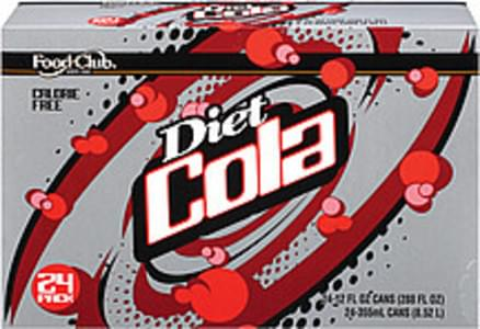 Food Club Diet 12 Oz Cans Cola - 24, Nutrition Information