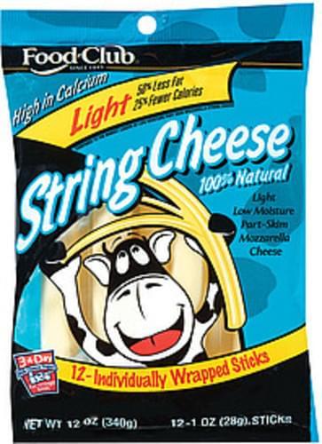 Food Club Light Mozzarella 12 Ct String Cheese - 12 oz