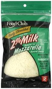 Food Club Finely Shredded Cheese Natural, Mozzarella, Reduced Fat