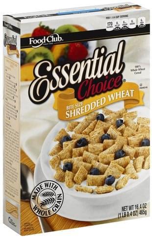 Food Club Shredded Wheat, Bite Size Cereal - 16.4 oz