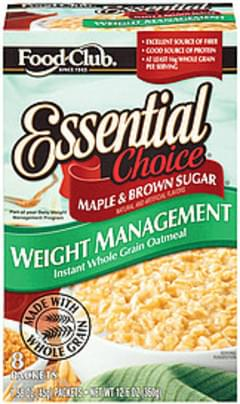Food Club Instant Oatmeal Essential Choice Weight Management Whole Grain Maple & Brown Sugar