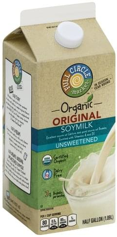 Full Circle Organic, Unsweetened, Original Soymilk - 0.5 gl