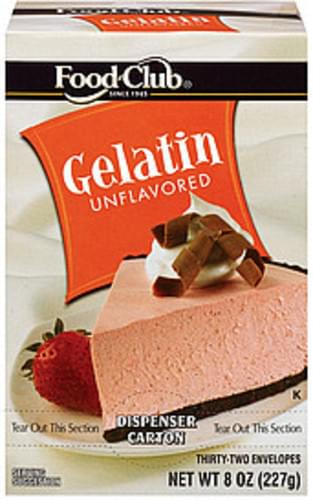 Food Club Unflavored 32 Ct Gelatin Dispenser Carton - 8 oz