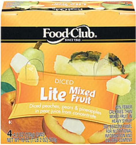 Food Club Lite Diced 4 Ct Mixed Fruit - 4.5 oz