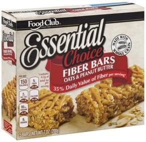 Food Club Fiber Bars Oats & Peanut Butter
