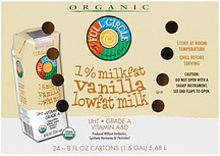 Full Circle Organic Vanilla Lowfat 1% Milkfat 8 Fl Oz Cartons Milk - 24