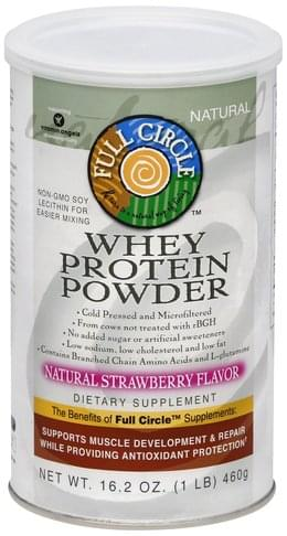 Full Circle Whey, Natural Strawberry Flavor Protein Powder - 16.2 oz