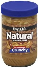 Food Club Peanut Butter Natural, No Salt Added, Crunchy
