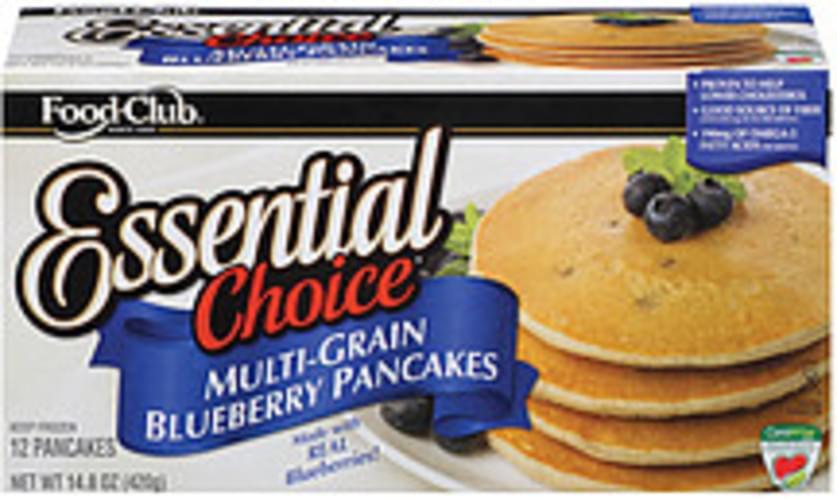 Food Club Essential Choice Multi-Grain Blueberry 12 Ct Pancakes - 14.8 oz