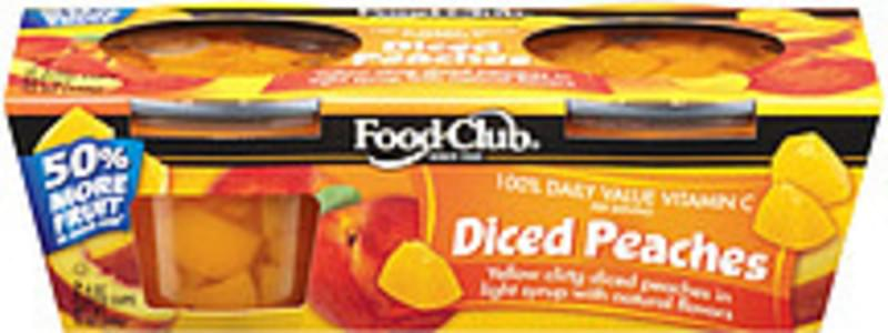 Food Club Fruit Cups Diced Peaches In Light Syrup 6 Oz