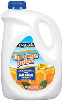 Food Club Orange Juice W/Calcium & Vitamin D From Concentrate