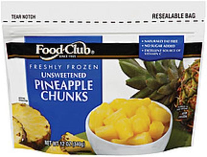 Food Club Unsweetened Chunks Pineapple - 12 oz