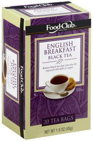 Food Club English Breakfast, Bags Black Tea - 20 ea