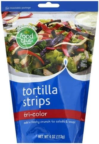 Food Club Tri-Color Tortilla Strips - 4 oz