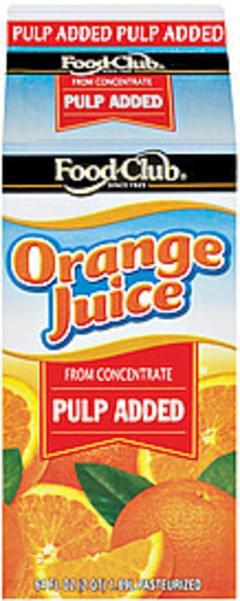 Food Club Orange Juice Pulp Added