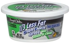 Food Club Cream Cheese Spread 1/3 Less Fat, With Onions & Chives