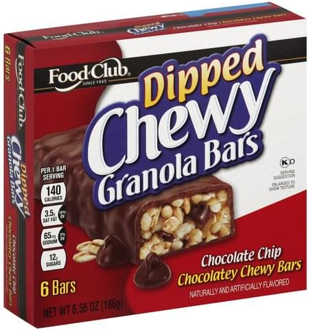 Food Club Chewy Dipped Chocolate Chip Granola Bars 6 Ea