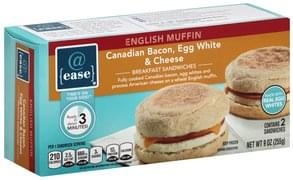 @ease Breakfast Sandwiches English Muffin, Canadian Bacon, Egg White & Cheese