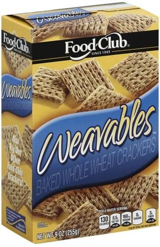 Food Club Baked, Whole Wheat Crackers - 9 oz