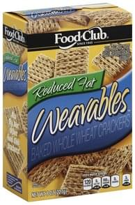 Food Club Crackers Baked, Reduced Fat, Whole Wheat