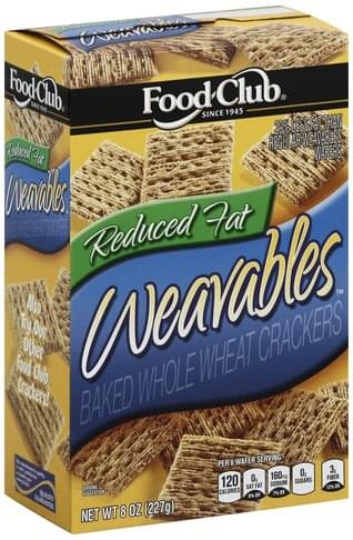 Food Club Baked, Reduced Fat, Whole Wheat Crackers - 8 oz