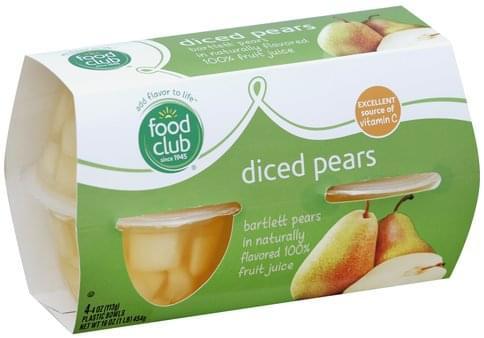 Food Club Diced Pears - 4 ea